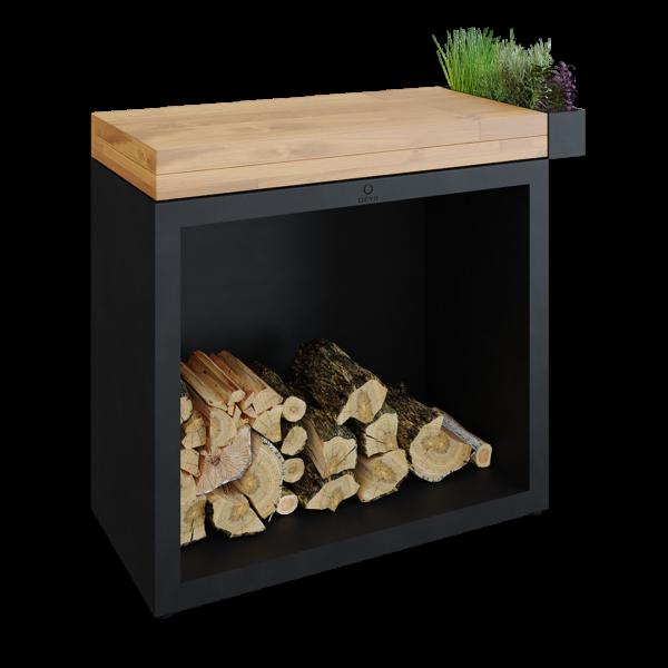 Ofyr butcher block storage 90 black bois de teck - Hervé Gehin