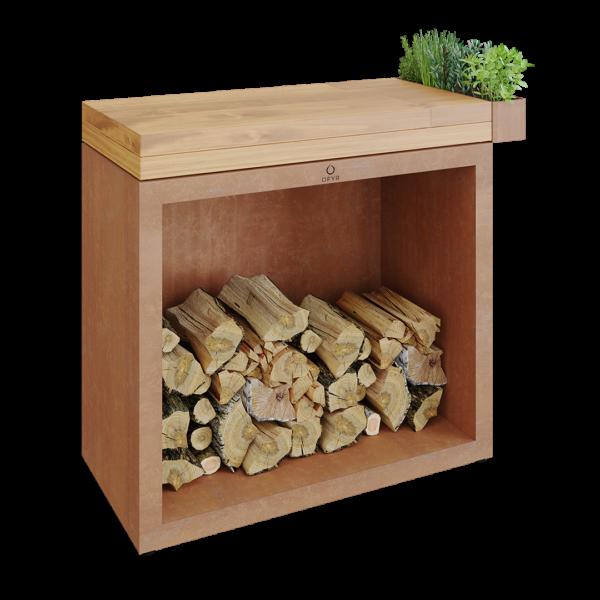 Ofyr butcher block storage 90 corten bois de teck - Hervé Gehin