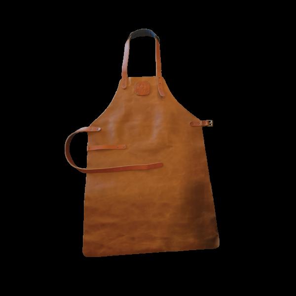 Tablier cuir marron - Hervé Gehin