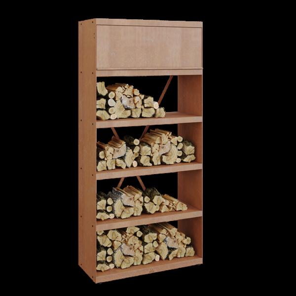 Ofyr wood storage corten 100 - Hervé Gehin