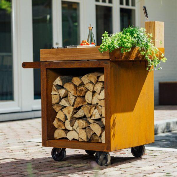 Ofyr mise en place table corten 65 pro bois de teck - Hervé Gehin